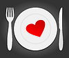 Vector clipart: Heart on plate