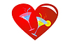 Vector clipart: Red heart and on it two glasses with drinks