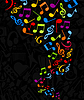 Vector clipart: Flight of music notes