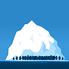 Vector clipart: Penguins on an ice floe