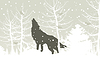 Vector clipart: Wolf in wood