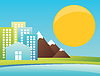 Vector clipart: City in mountains