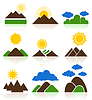 Vector clipart: Icon of mountains