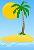 Vector clipart: Island with palm tree