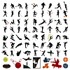 Vector clipart: Silhouettes of sportsmen
