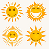 Vector clipart: Suns smiling
