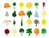Vector clipart: Assembly of trees