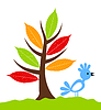 Vector clipart: Bird under tree