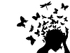 Vector clipart: Butterflies of head