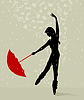 Vector clipart: Dance with an umbrella