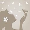 Vector clipart: Girl and butterfly