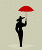 Vector clipart: Girl under an umbrella
