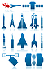 Vector clipart: Icons of rockets