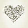 Vector clipart: Heart of office supplies