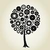 Vector clipart: Tree gear wheel