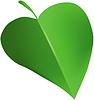Зеленый лист в виде сердца   Векторный клипарт