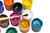 Colorful gouache paint and brush | Stock Foto