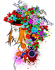 Vector clipart: Floral colored woman silhouette