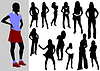 Vector clipart: Women in action silhouettes.