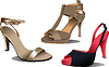 Vektor Cliparts: Drei Mode Frau Schuhe.