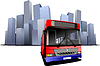 Vector clipart: Cover for brochure with city and bus images.