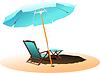 Chair and umbrella on beach.