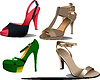 Four pairs of fashion woman shoes.