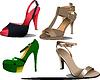 Vektor Cliparts: Vier Paar Schuhe, Mode, Frau.