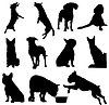 Set of dogs silhouette.