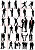 Vektor Cliparts: Männer. Frauen. Pair. Paar. Schwarze Silhouette.