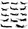 Black and white silhouettes 0f passenger Airplane. illus