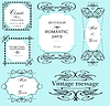 Vector clipart: Set of ornate frames and ornaments with sample text. All