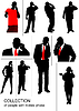 Vector clipart: Set of people silhouette speaking by mobile phone