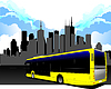 Vector clipart: City transport on city background. Bus.