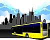Vektor Cliparts: Der öffentliche Personennahverkehr auf Stadt Hintergrund. Bus.