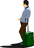 Vektor Cliparts: Junger Mann mit Koffer wartenden Zug.