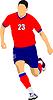 Vektor Cliparts: Fußballspieler in rot-blauen Uniformen. Farbig