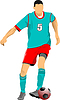 Vector clipart: Soccer player in green-red uniforms. Colored