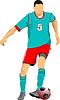 Vektor Cliparts: Fußballspieler in grün-roten Uniformen. Farbig
