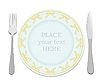 Vector clipart: Silver fork, knife and plate.