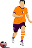 Vector clipart: Soccer player in orange uniforms