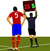 Vector clipart: Football player waiting out on field and referee