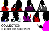 Vector clipart: people speaking by mobile phone