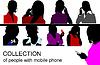 Vektor Cliparts: Menschen sprechen am Handy