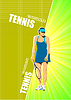 Vector clipart: Poster with woman tennis player