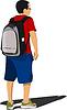 Vector clipart: School boy waiting