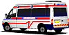 Vector clipart: Modern ambulance van over white. Colored