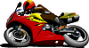 Vector clipart: Motorcycle on road. Biker