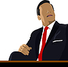 Vector clipart: Relaxed businessman sits in office