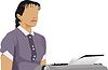 Frau-Manager und alte Schreibmaschine